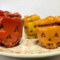 パプリカでジャック・オー・ランタン<br>Halloween Stuffed Peppers!